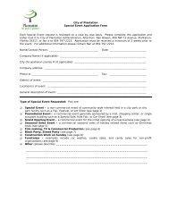 Special Permission Application Form - City of Plantation