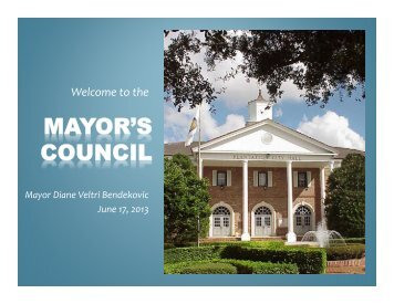 June 17, 2013 Mayor's Council - City of Plantation