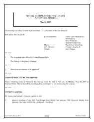 Minutes of the Joint Meeting of the - City of Plantation