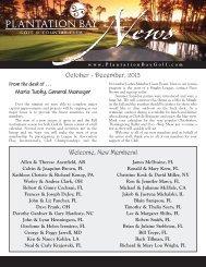 October-December 2013 Club Newsletter - Plantation Bay - Golf ...