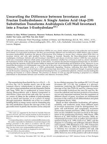 A Single Amino Acid (Asp-239) - Plant Physiology