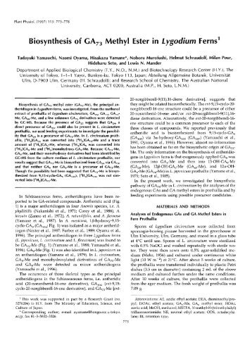 Biosynthesis of GA,, Methyl Ester in Lygocfium ... - Plant Physiology