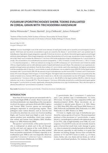 fusarium sporotrichioides sherb. toxins evaluated in cereal grain ...