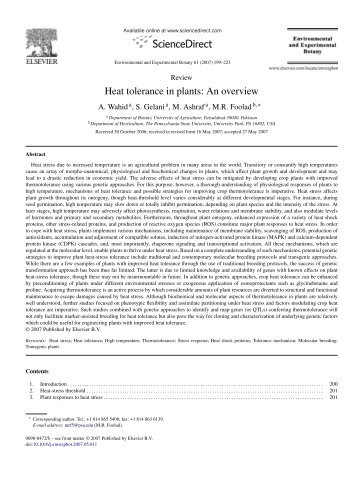 Heat tolerance in plants: An overview - Plantstress.com