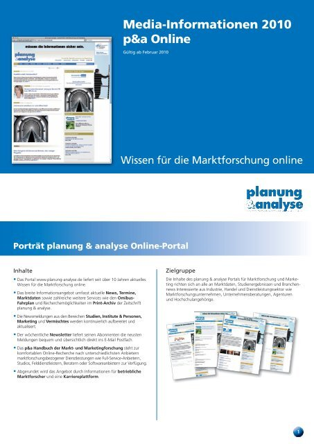 Media-Informationen 2010 p&a Online - Planung & Analyse