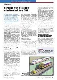 Vergabe von Gleisbauarbeiten bei den ÖBB - Plasser & Theurer