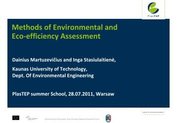 Methods of environmental and eco-efficiency assessment - PlasTEP