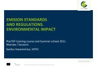 Emission standards and regulations. Environmental impact - PlasTEP