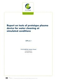 Report on tests of prototype plasma device for water ... - PlasTEP
