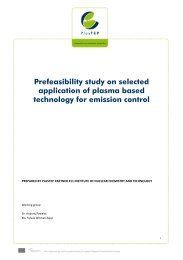 Prefeasibility study on selected application of plasma ... - PlasTEP