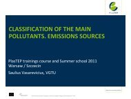 Classification of the main pollutants. Emission sources - PlasTEP
