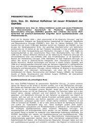 Univ. Doz. Dr. Helmut Hoflehner ist neuer Präsident der ÖGPÄRC