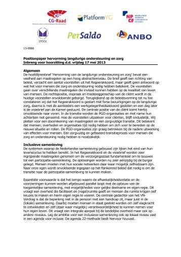 Positionpaper hervorming langdurige ondersteuning en ... - CG-Raad