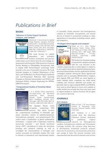 Publications in Brief - Platinum Metals Review