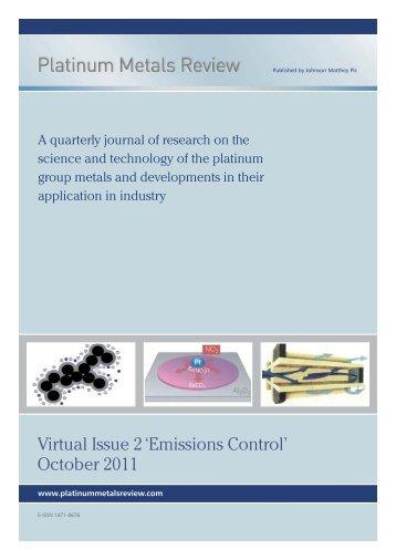 Virtual Issue 2 'Emissions Control' - Platinum Metals Review
