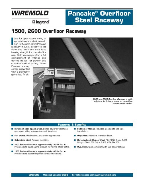 Pancake Overfloor Raceway Product Specifications Eanixter