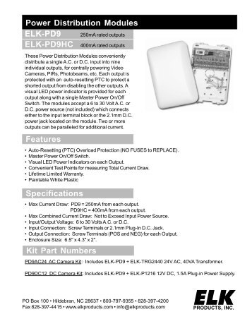 PD9 sales sheet - ELK Products, Inc
