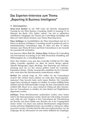 Das Experteninterview zum Thema Reporting & BI - Plaut