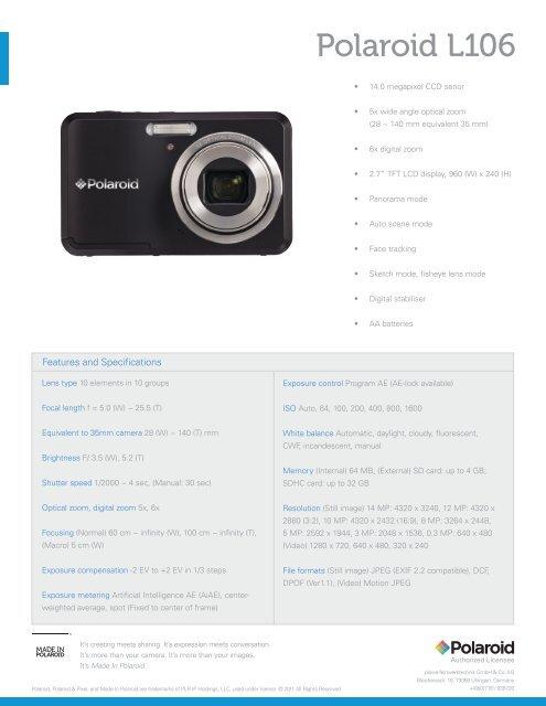 Polaroid L106 sales sheet GB - plawa