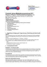 Protokoll der Mitgliederversammlung 2013 - Player 4 Players e.V.