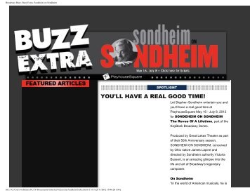 Broadway Buzz: Buzz Extra- Sondheim on Sondheim - Playhouse ...