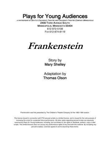 Frankenstein - Plays for Young Audiences