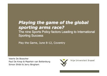 Playing the game of the global sporting arms race? - Play the Game