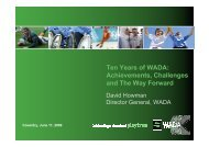Ten Years of WADA: Achievements, Challenges ... - Play the Game