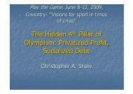 The Hidden 4th Pillar of Olympism: Privatized Profit ... - Play the Game