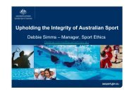 Upholding the Integrity of Australian Sport - Play the Game