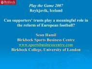 Play the Game 2007 Reykjavik, Iceland Can supporters' trusts play a ...