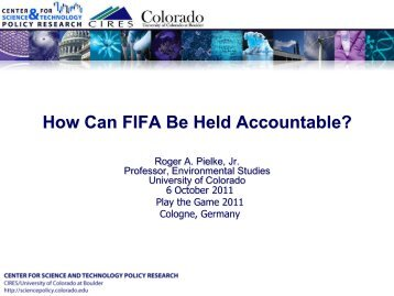 How can FIFA be held accountable? - Roger Pielke - Play the Game