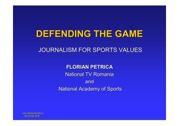 Journalism for sports values - Play the Game