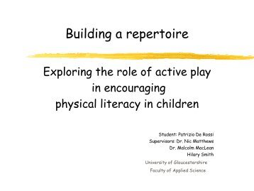 Building a repertoire - Play Wales