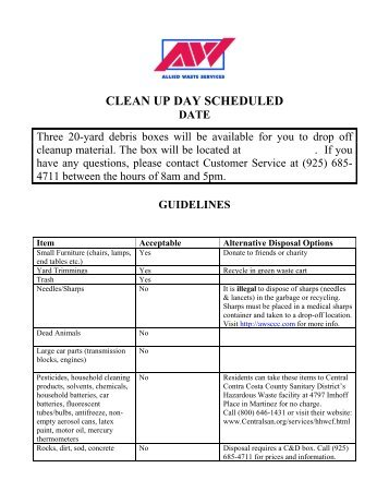 MultiFamily clean Up Chart - Allied Waste Services of Contra Costa ...