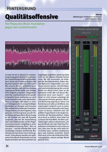 Studio Magazin Ausgabe 1/2009 - pleasurize music!