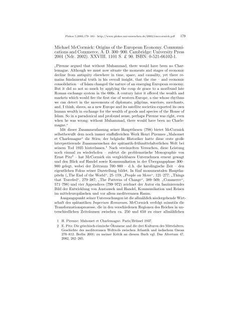Michael McCormick: Origins of the European Economy ... - Plekos