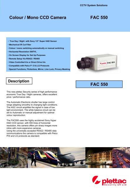 FAC550 1/3 Colour / Mono Camera - plettac Security UK Ltd