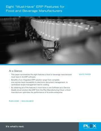 """Eight """"Must-Have"""" ERP Features for Food Processors - Plex Systems"""