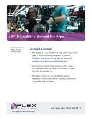 ERP Traceability: Beyond the Hype - Plex Systems