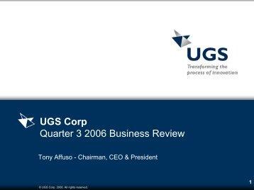 UGS Corp Quarter 3 2005 Business Review - Siemens PLM Software
