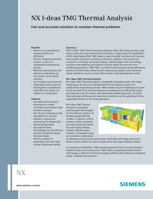 NX I-deas TMG Thermal Analysis Fact Sheet pdf - Maya HTT