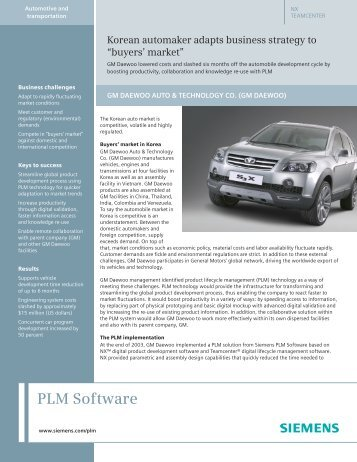 GM Daewoo Case Study - Siemens PLM Software
