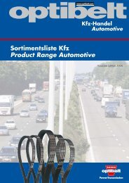 Sortimentsliste Kfz Product Range Automotive
