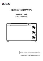 INSTRUCTION MANUAL Electric Oven - Ices Electronics