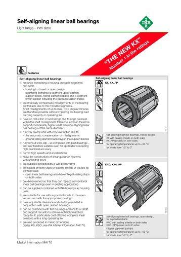 Self-aligning linear ball bearings: Light range – inch sizes ... - Hedan