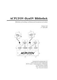 ACPLT/OV-DynOV Bibliothek - Lehrstuhl für Prozessleittechnik