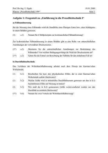 """Aufgabe 1: Fragenteil zu """"Einführung in die Prozeßleittechnik I"""""""