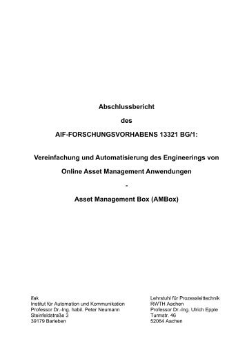 Online Asset Management - Lehrstuhl für Prozessleittechnik