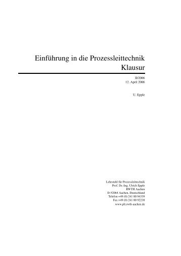 Einführung in die Prozessleittechnik Klausur - Lehrstuhl für ...